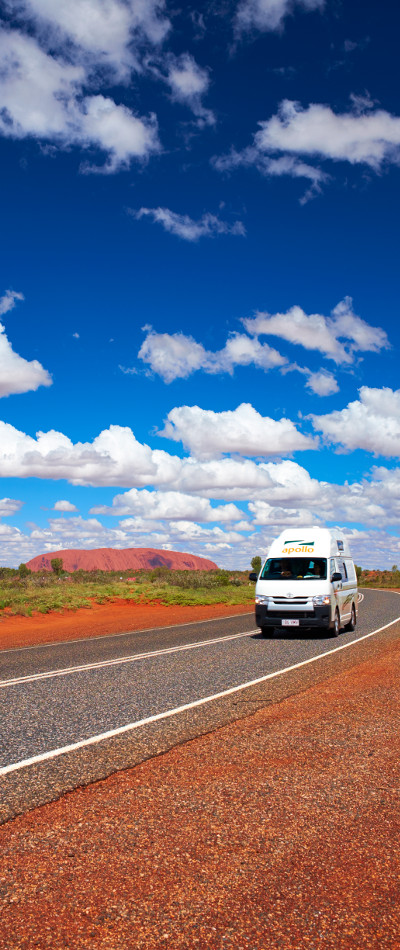 A rental campervan on its way to Alice Springs.